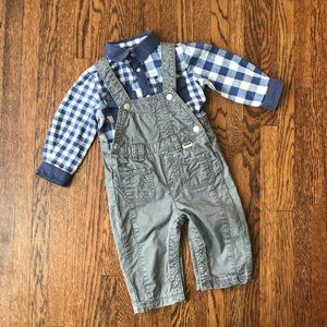 Kanz Gray Overalls & Blue Check Shirt Outfit